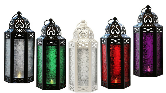 urple Glass Moroccan Style Candle Lanterns for weddings