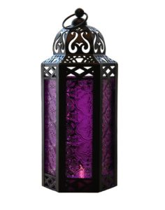 Purple Glass Moroccan Style Candle Lantern for Weddings